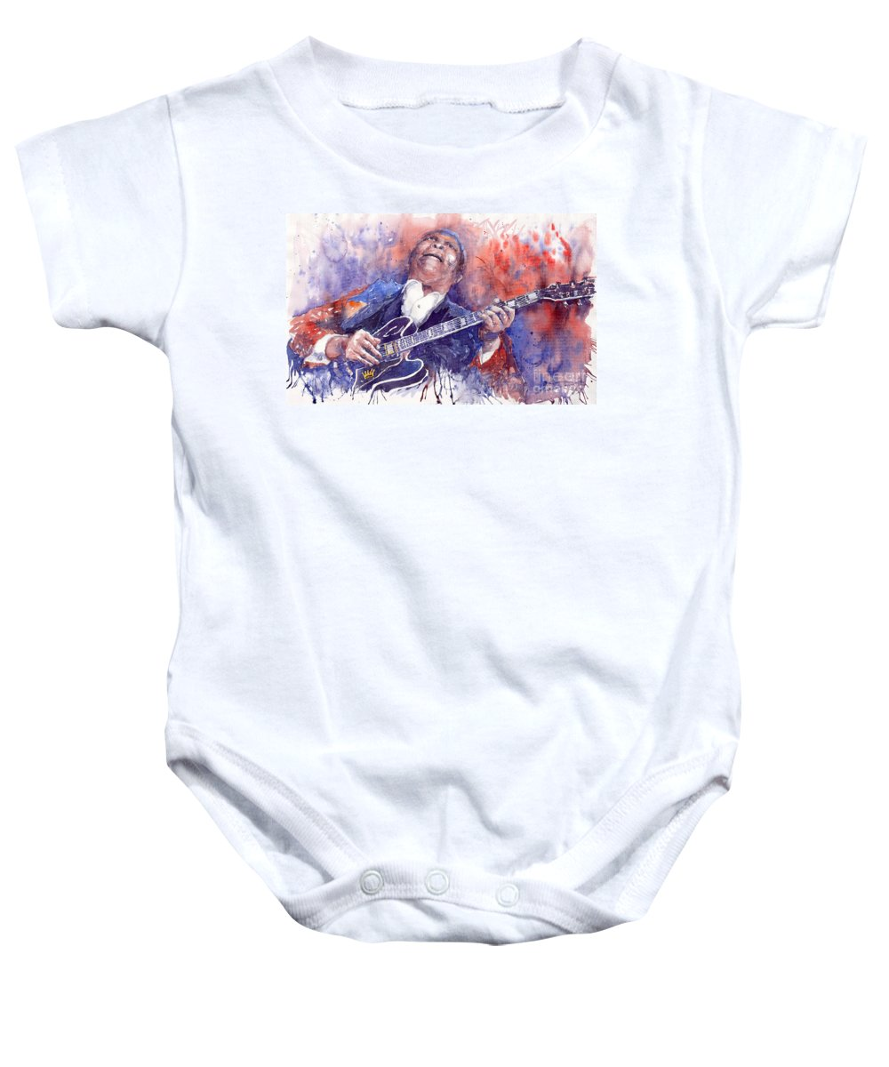 Jazz Baby Onesie featuring the painting Jazz B B King 05 Red by Yuriy Shevchuk