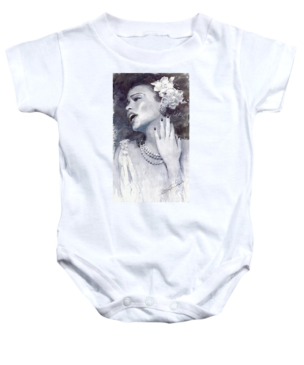 Billie Holiday Baby Onesie featuring the painting Jazz Billie Holiday by Yuriy Shevchuk