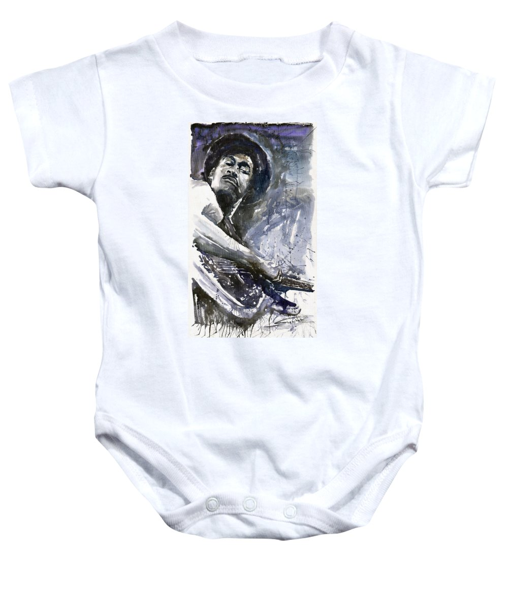 Jazz Baby Onesie featuring the painting Jazz Marcus Miller 01 by Yuriy Shevchuk