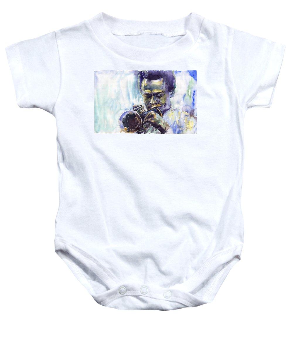 Jazz Miles Davis Music Musiciant Trumpeter Portret Baby Onesie featuring the painting Jazz Miles Davis 10 by Yuriy Shevchuk