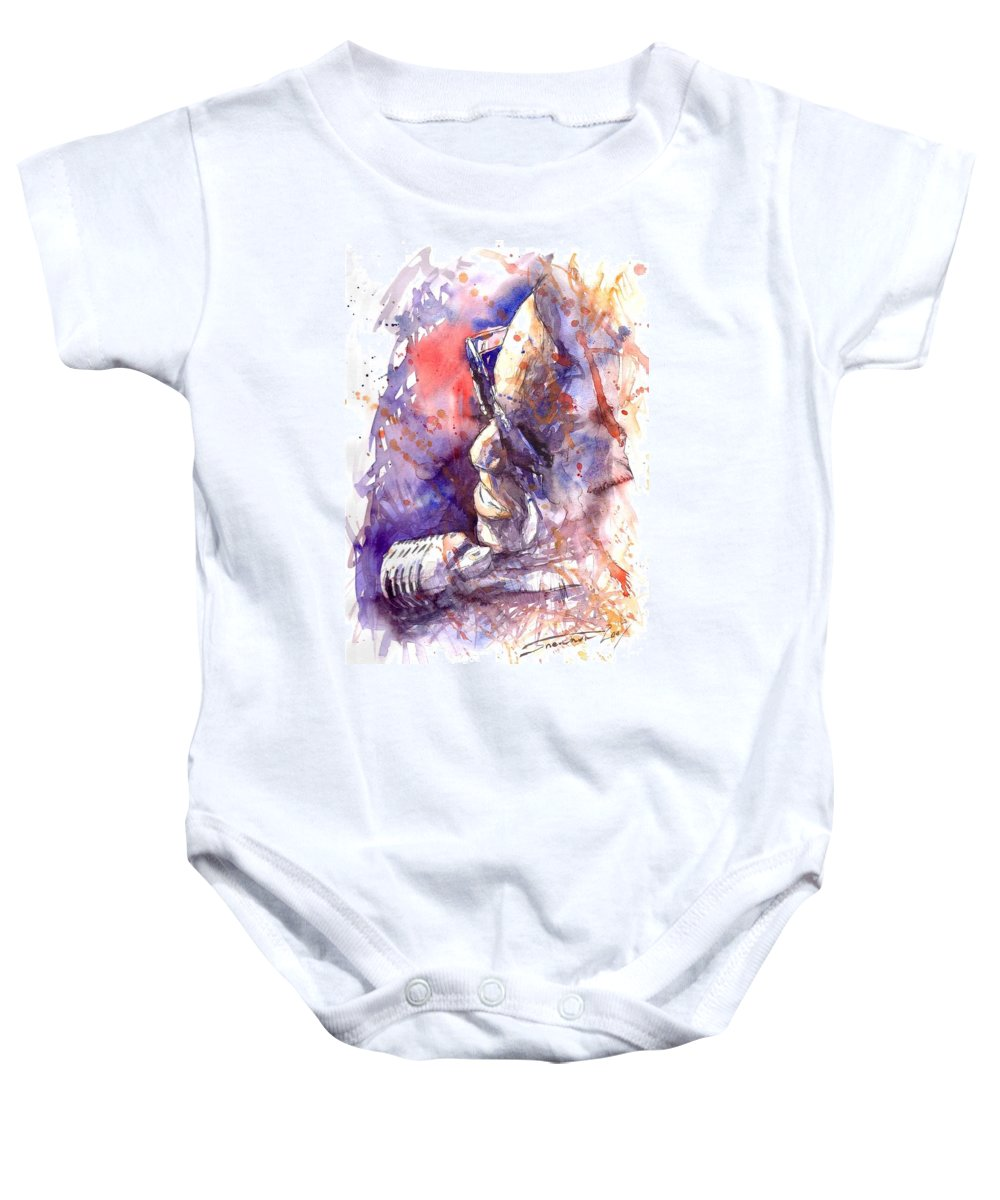 Portret Baby Onesie featuring the painting Jazz Ray Charles by Yuriy Shevchuk