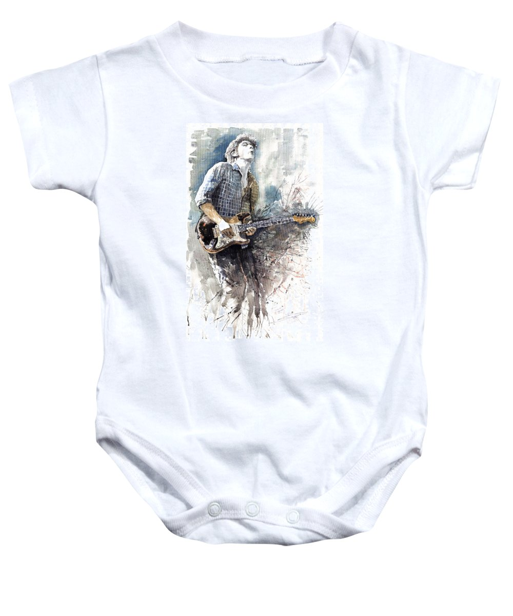 Jazz Baby Onesie featuring the painting Jazz Rock John Mayer 05 by Yuriy Shevchuk