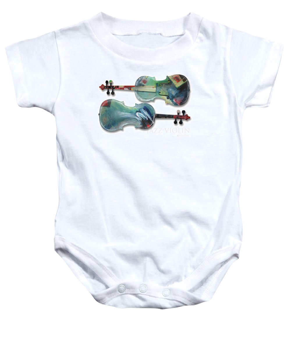 Violin Baby Onesie featuring the painting Jazz Violin - Poster by Tim Nyberg