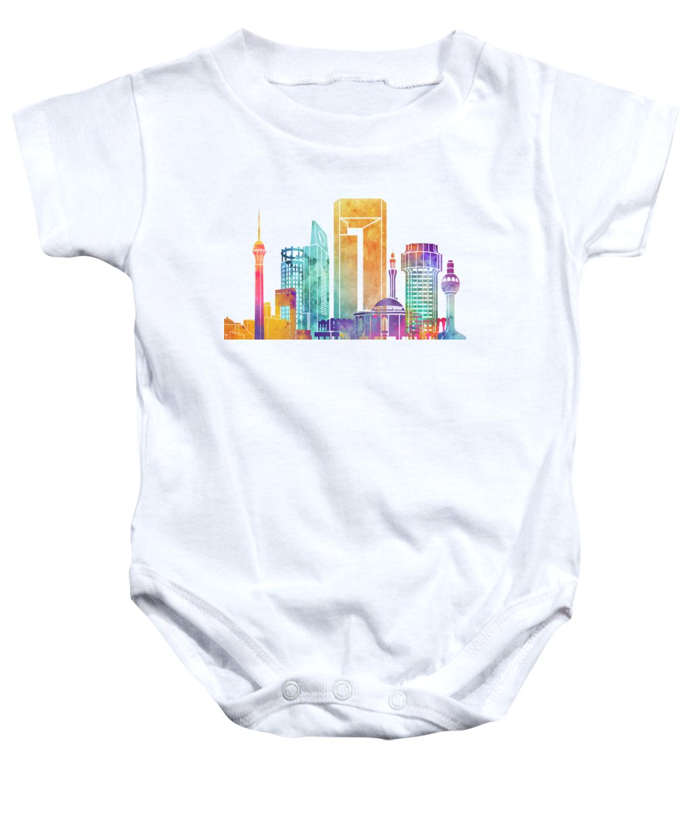Asia Baby Onesie featuring the painting Jeddah Landmarks Watercolor Poster by Pablo Romero