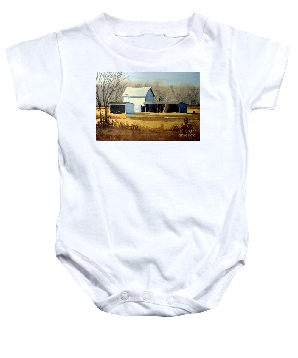Watercolor Baby Onesie featuring the painting Jersey Farm by Donald Maier