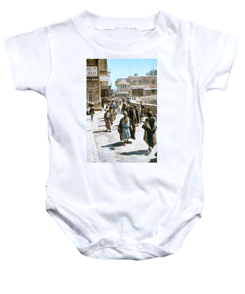 1950s Baby Onesie featuring the photograph Jerusalem Street Scene by Granger