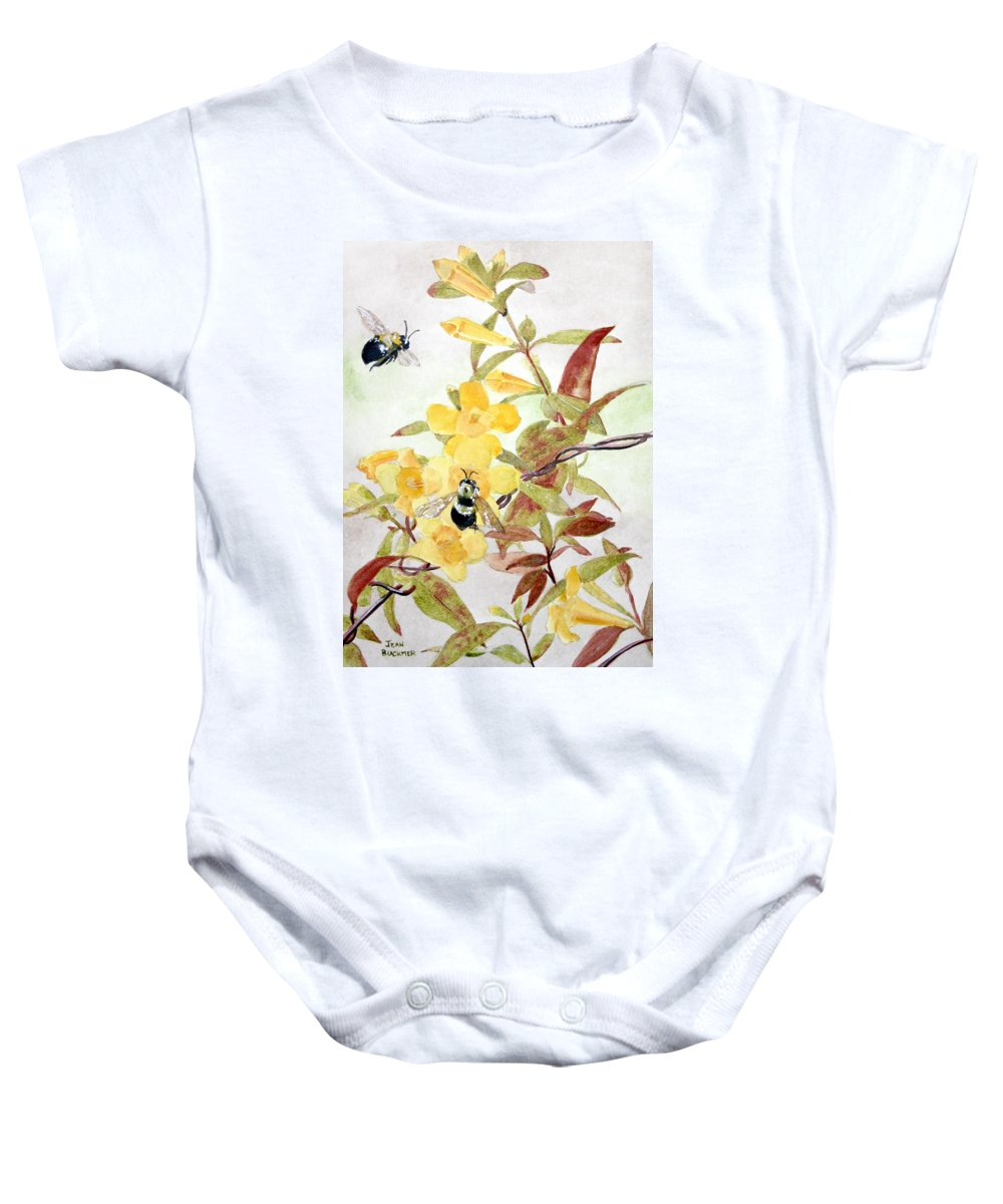 Jasmine Baby Onesie featuring the painting Jessamine Bee Mine by Jean Blackmer