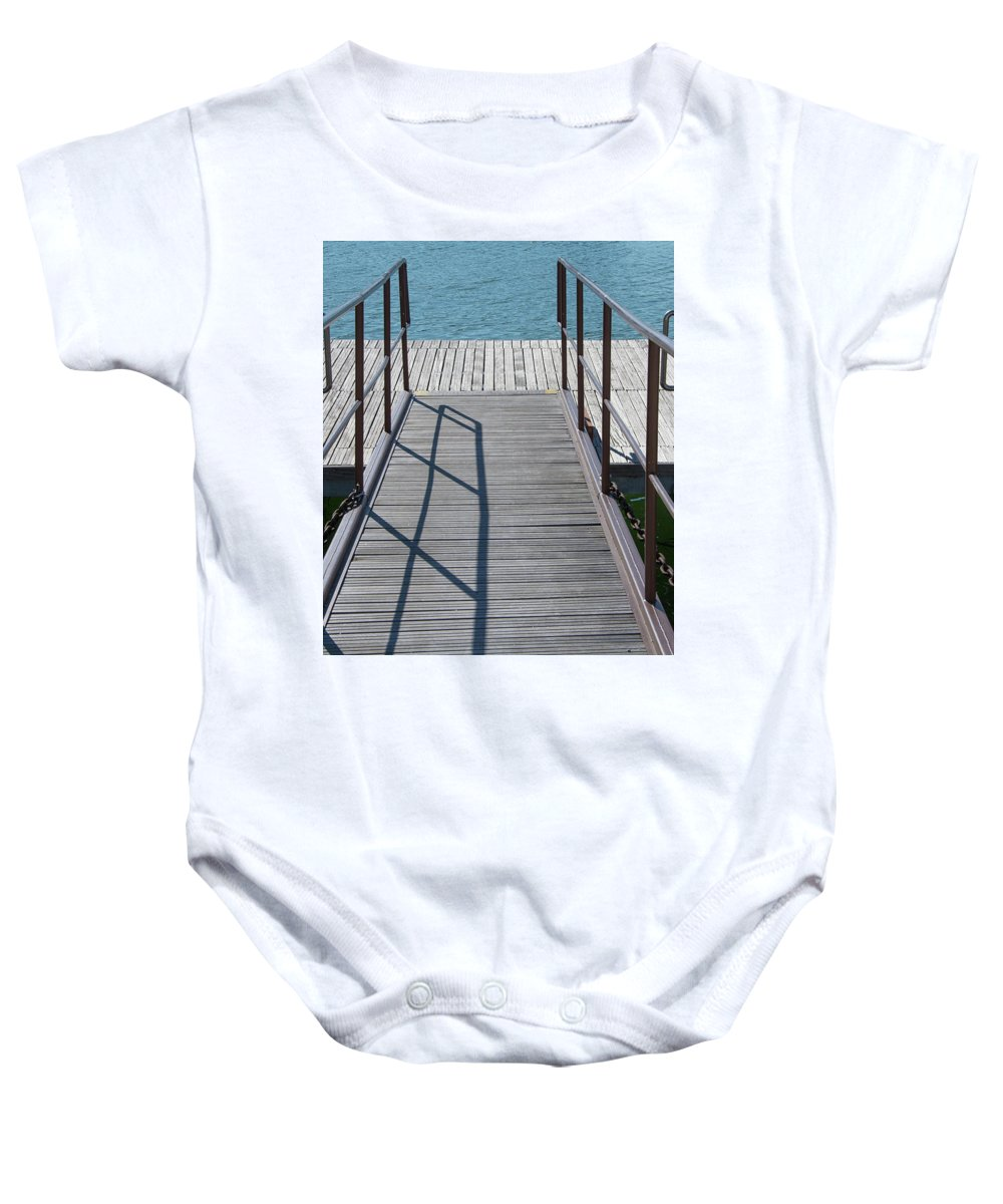 Jetty By Guenther Thomas Kuhn Baby Onesie featuring the photograph Jetty by Guenther Thomas Kuhn