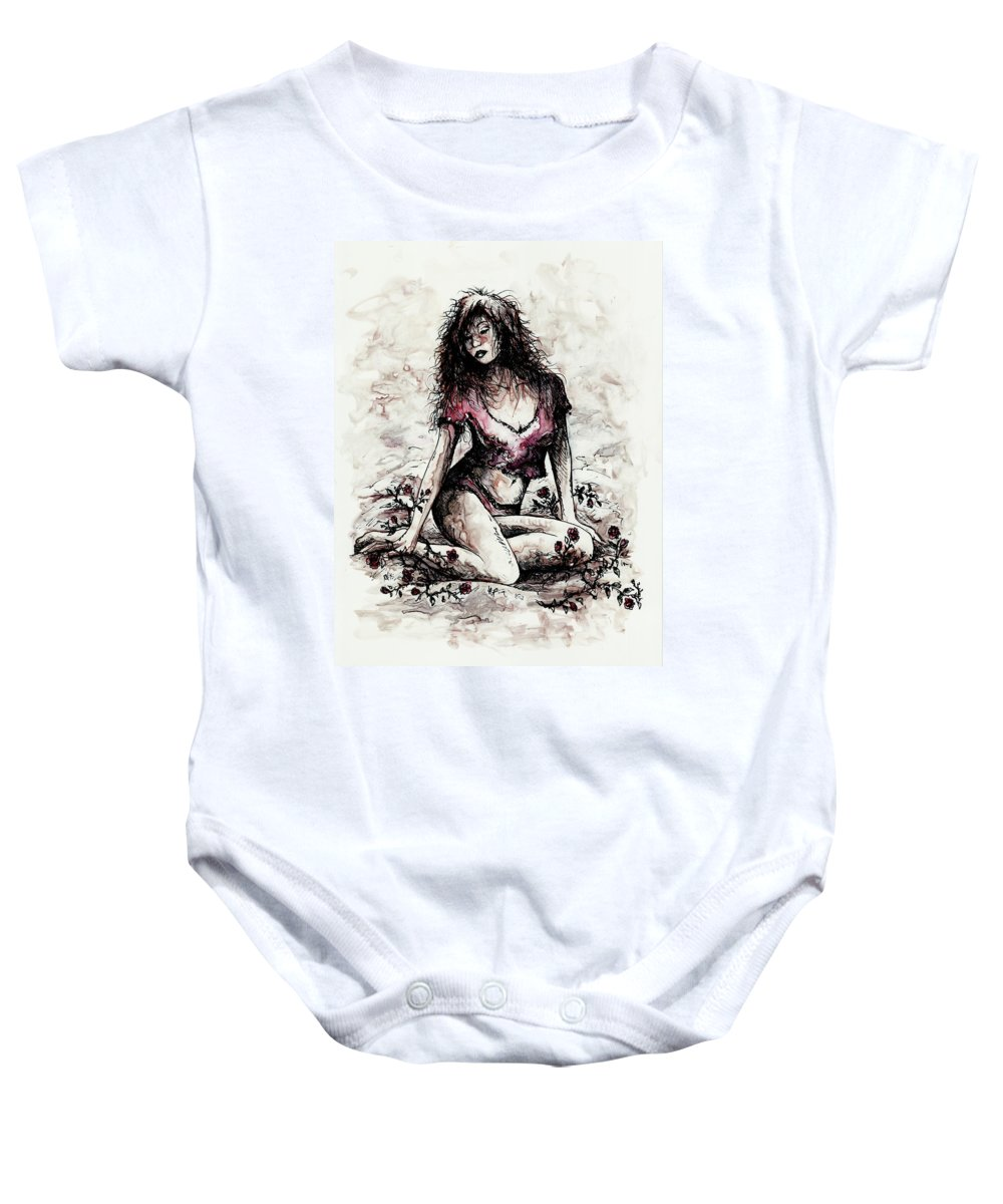 Figure Baby Onesie featuring the drawing Jezebel by Rachel Christine Nowicki
