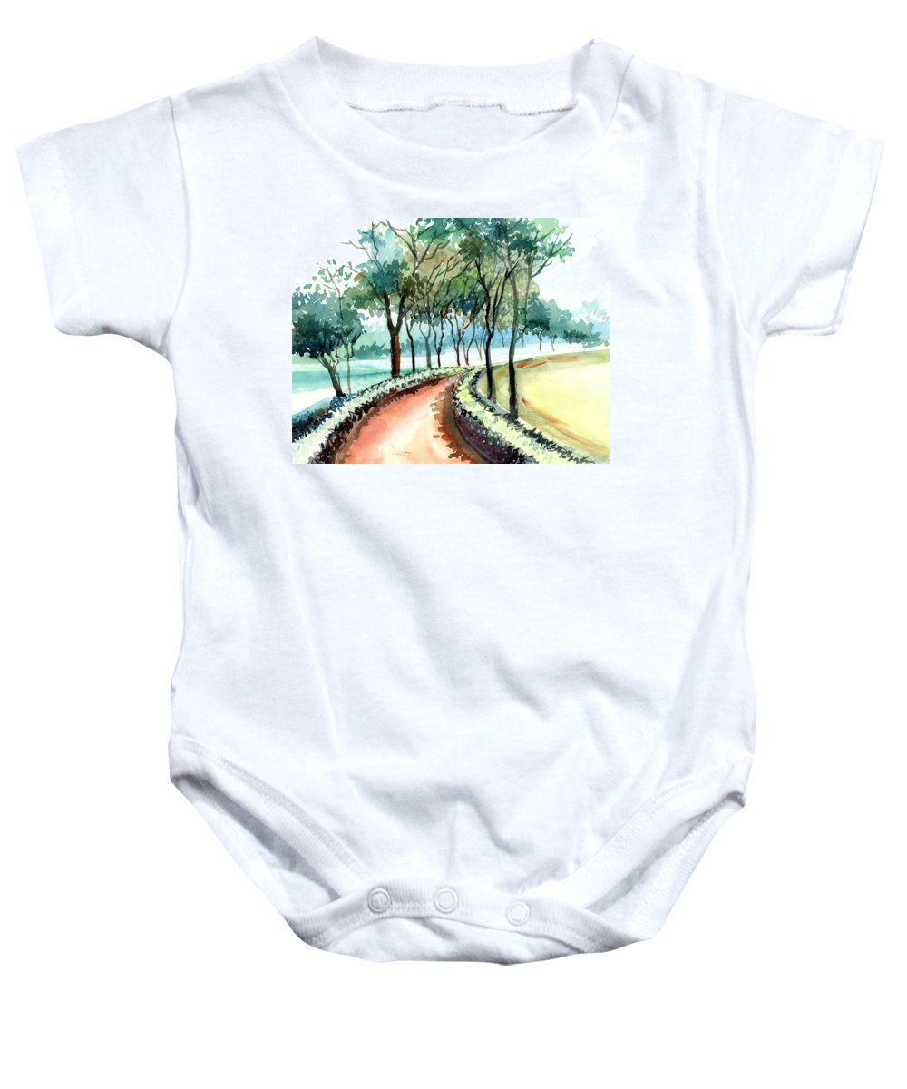 Landscape Baby Onesie featuring the painting Jogging Track by Anil Nene