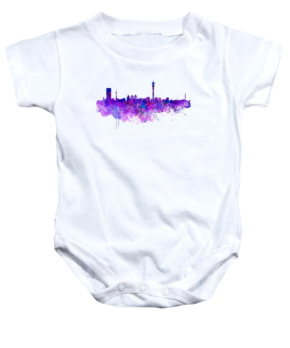 Johannesburg Baby Onesie featuring the painting Johannesburg Skyline by Marian Voicu