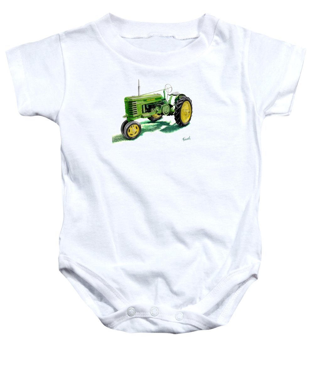 John Deere Tractor Baby Onesie featuring the painting John Deere Tractor by Ferrel Cordle
