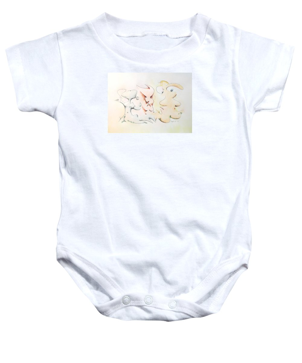 Watercolor Baby Onesie featuring the painting Judging Picasso by Dave Martsolf