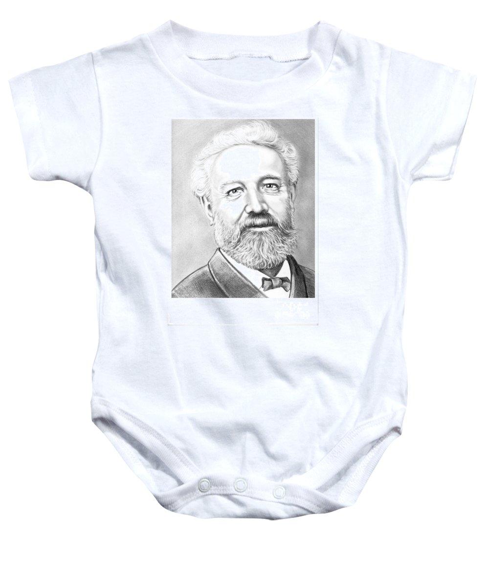 Jules Verne Baby Onesie featuring the drawing Jules Verne by Murphy Elliott