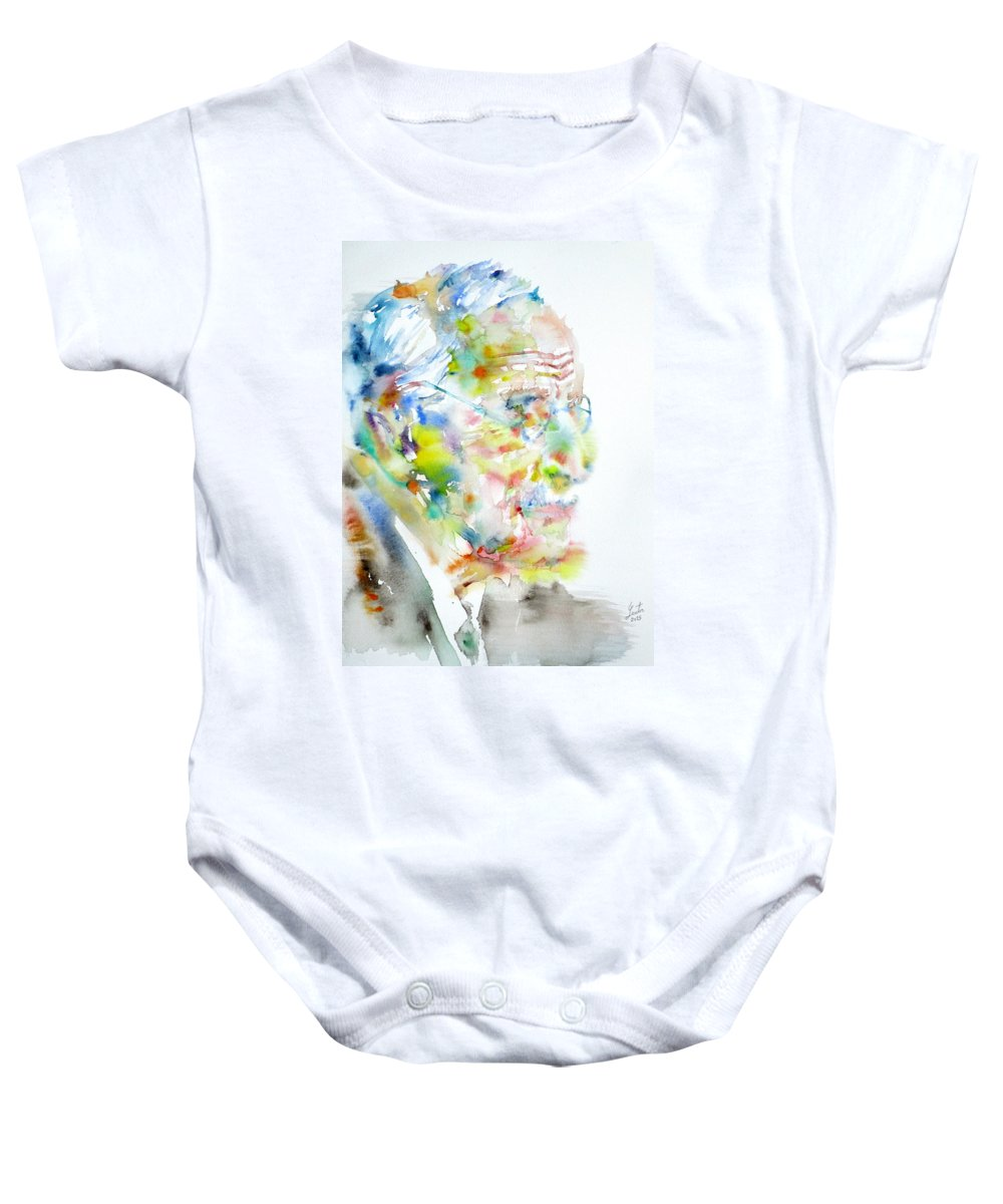Jung Baby Onesie featuring the painting Jung - Watercolor Portrait.4 by Fabrizio Cassetta