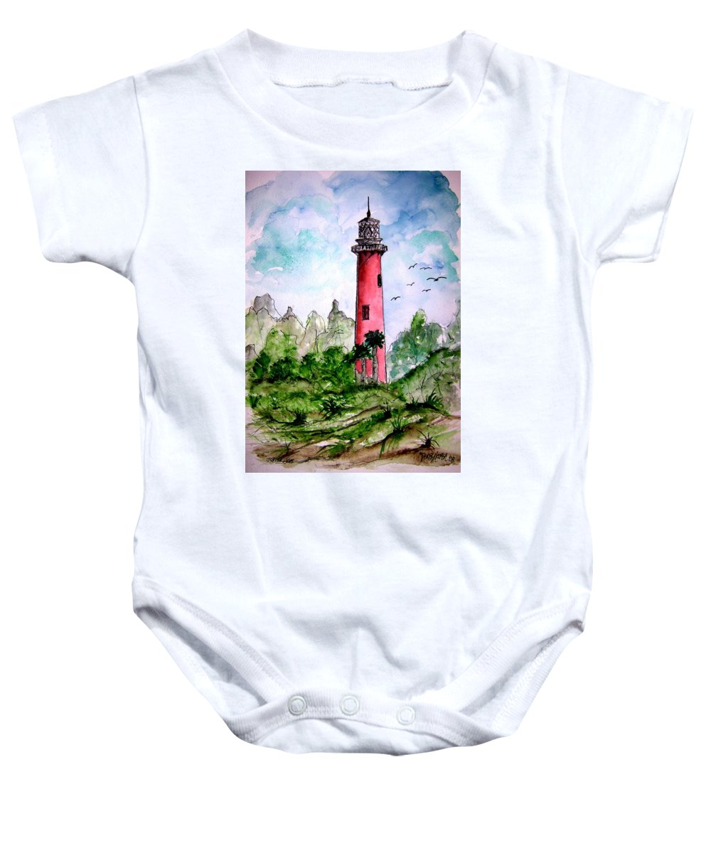 Lighthouse Baby Onesie featuring the painting Jupiter Florida Lighthouse by Derek Mccrea
