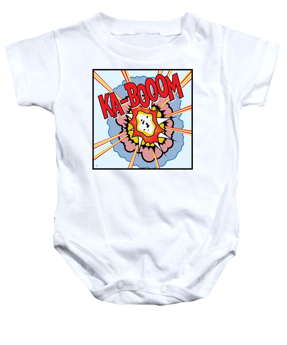 Pop Art Baby Onesie featuring the painting Ka-booom by Gary Grayson