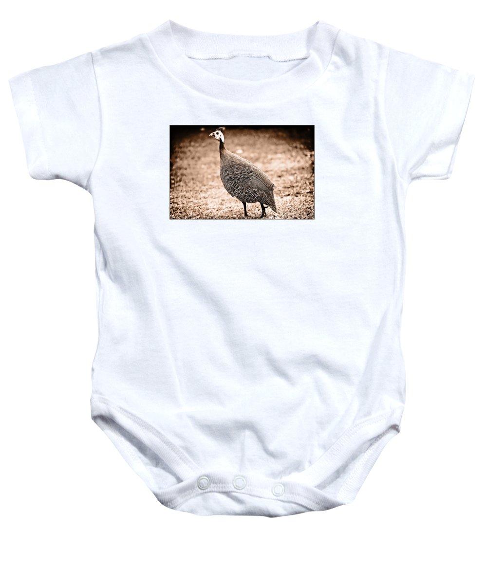 Guinea Fowl Baby Onesie featuring the photograph Kanga by Douglas Barnard