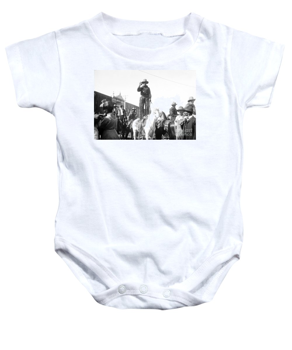 1908 Baby Onesie featuring the photograph Kansas: Cowboy, C1908 by Granger