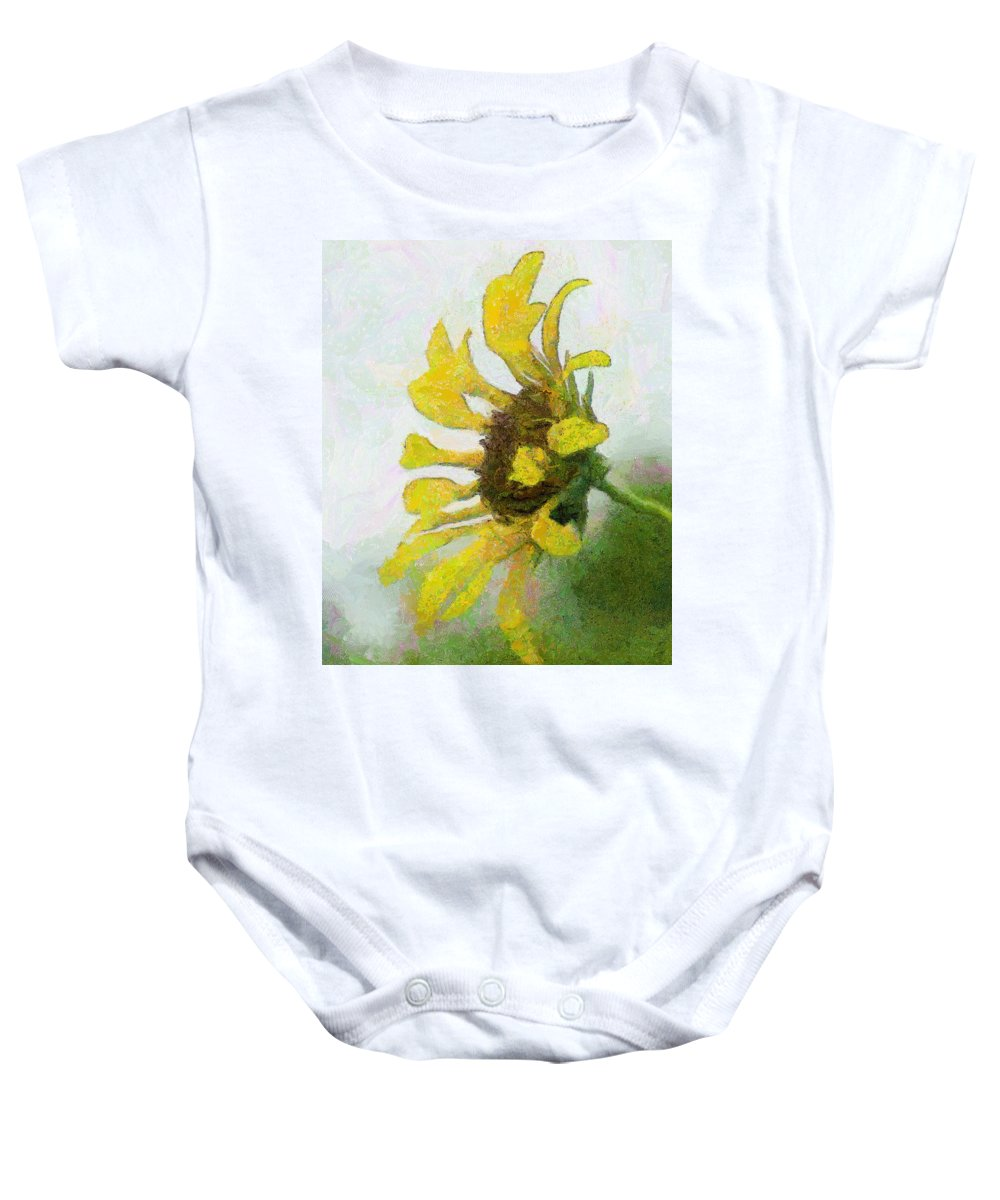 Sunflower Baby Onesie featuring the painting Kate's Sunflower by Jeffrey Kolker