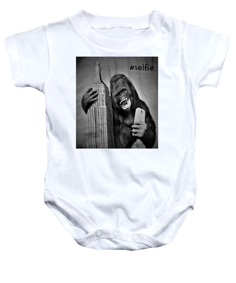 Architecture Baby Onesie featuring the photograph King Kong Selfie B W by Rob Hans