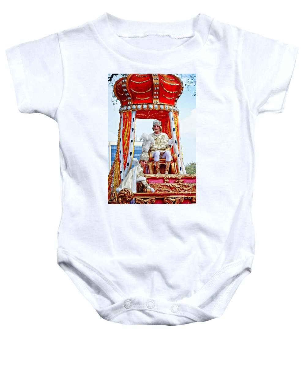 Mardi Gras Baby Onesie featuring the photograph King Of Rex And Page - Mardi Gras New Orleans by Kathleen K Parker