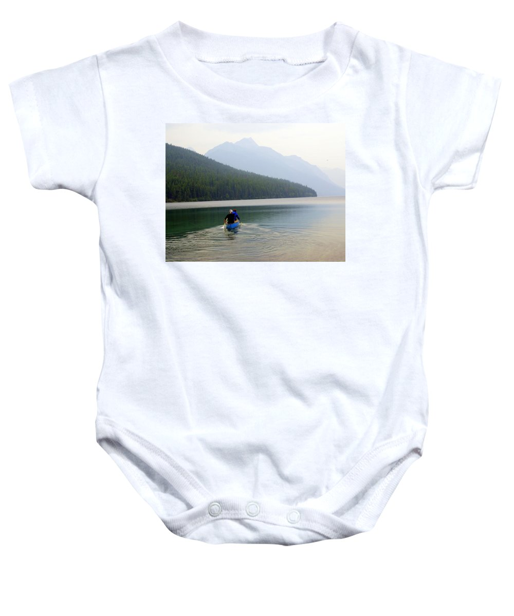 Mountains Baby Onesie featuring the photograph Kintla Lake Paddlers by Marty Koch