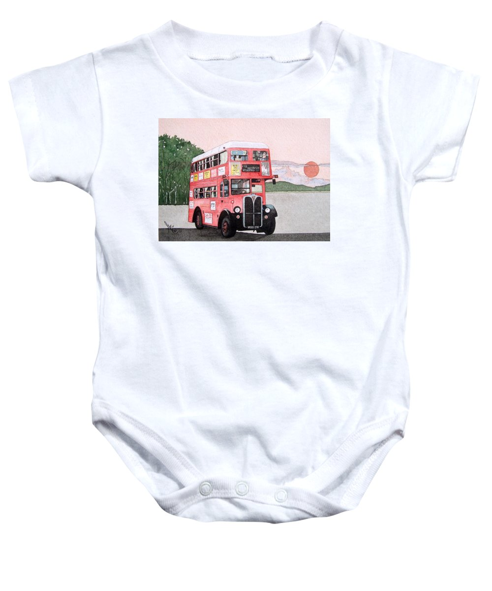 Bus Baby Onesie featuring the painting Kirkland Bus by Gale Cochran-Smith