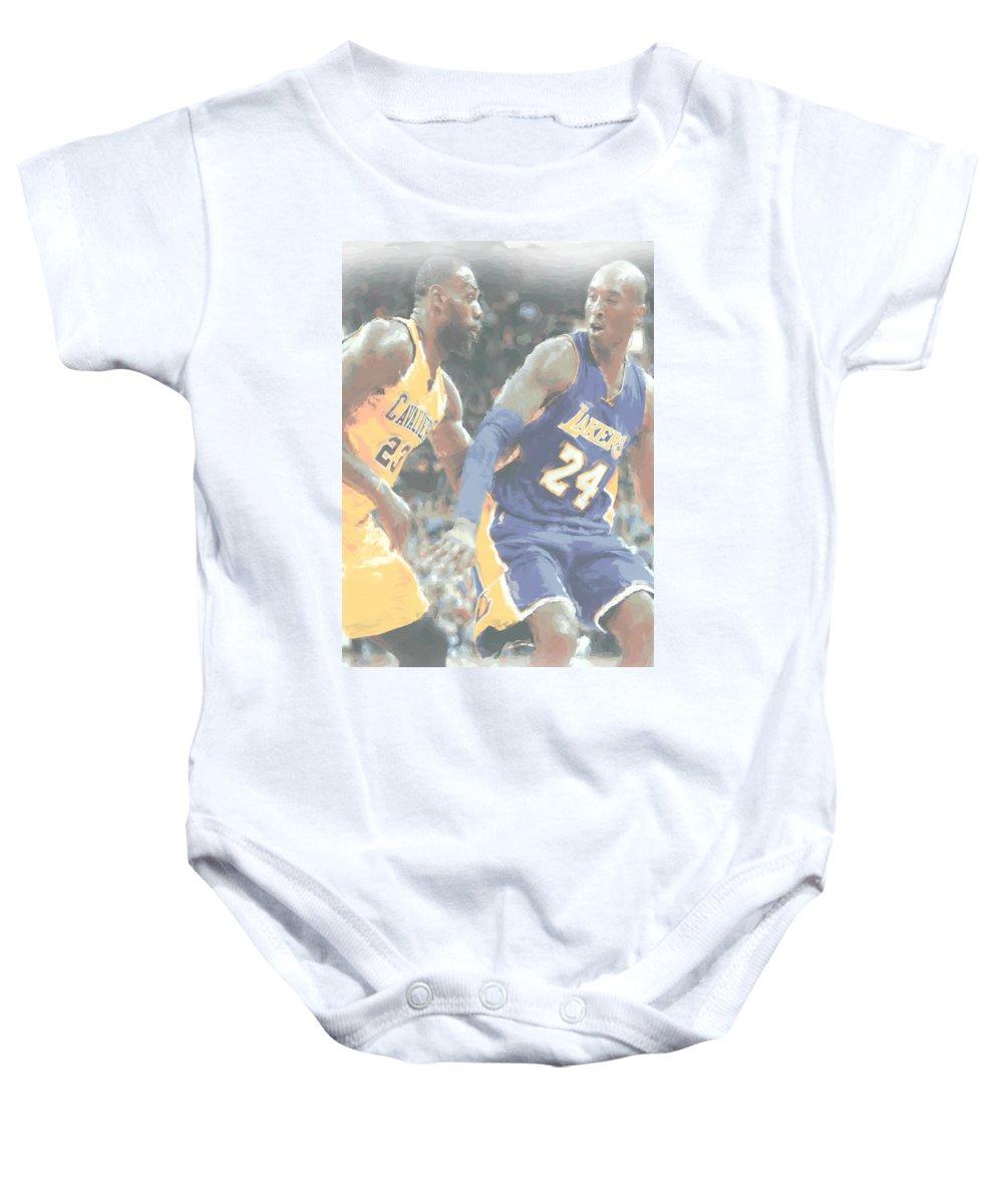 b7ad7945675f Kobe Bryant Baby Onesie featuring the photograph Kobe Bryant Lebron James 2  by Joe Hamilton