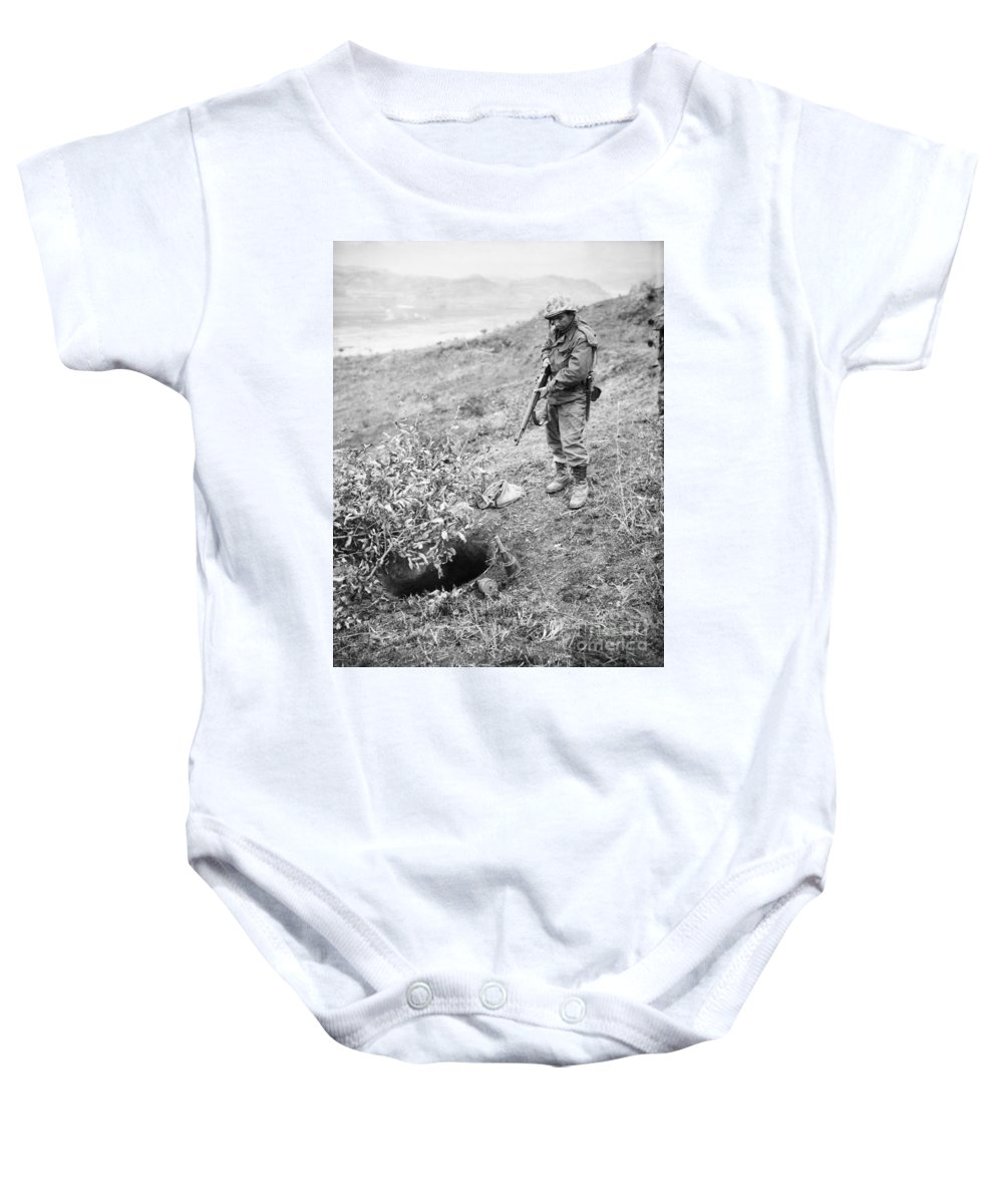 1951 Baby Onesie featuring the photograph Korean War: Foxhole, 1951 by Granger