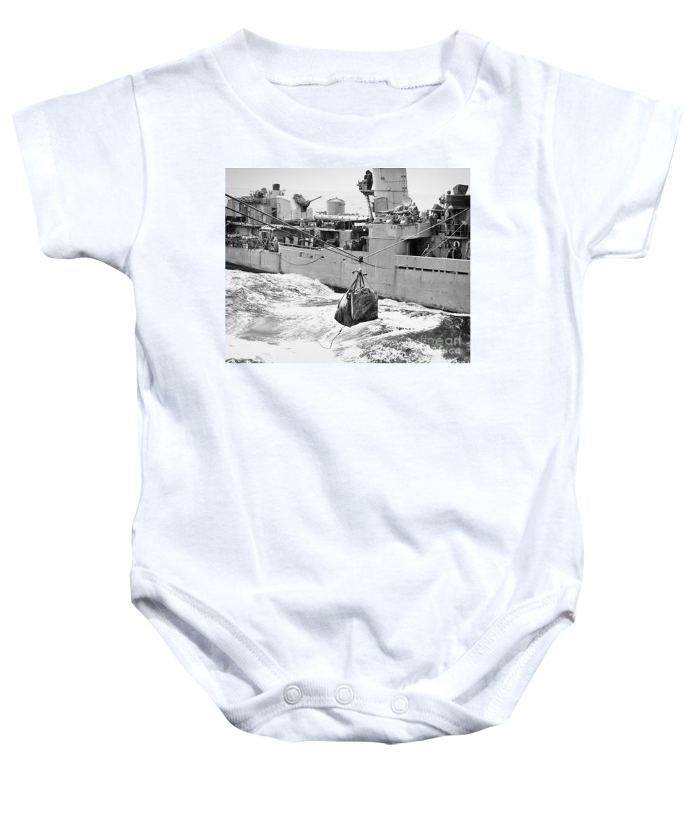 1953 Baby Onesie featuring the photograph Korean War: Navy Mailbag by Granger