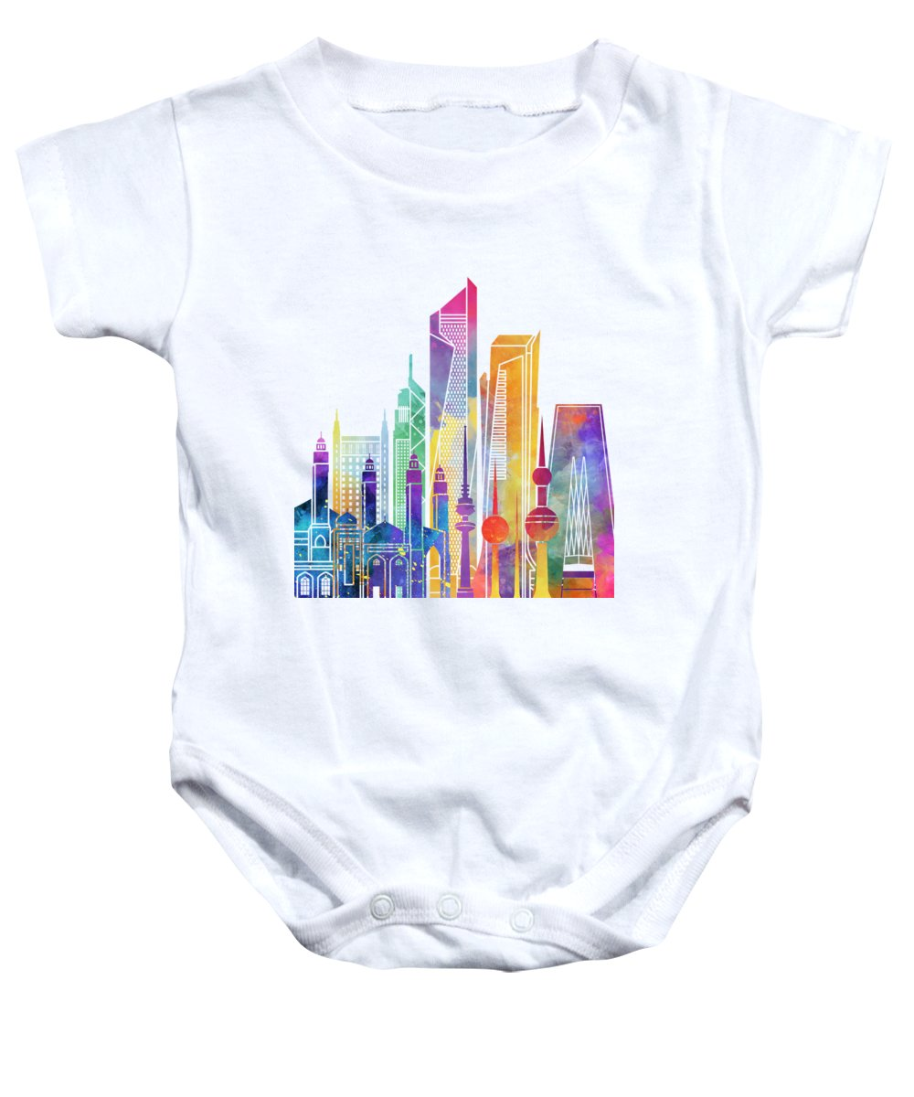 Asia Baby Onesie featuring the painting Kuwait City Landmarks Watercolor Poster by Pablo Romero