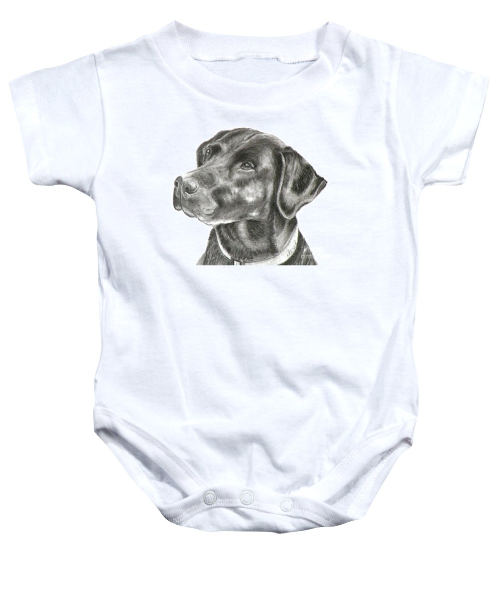 Black Lab Baby Onesie featuring the painting Lab Charcoal Drawing by Susan A Becker