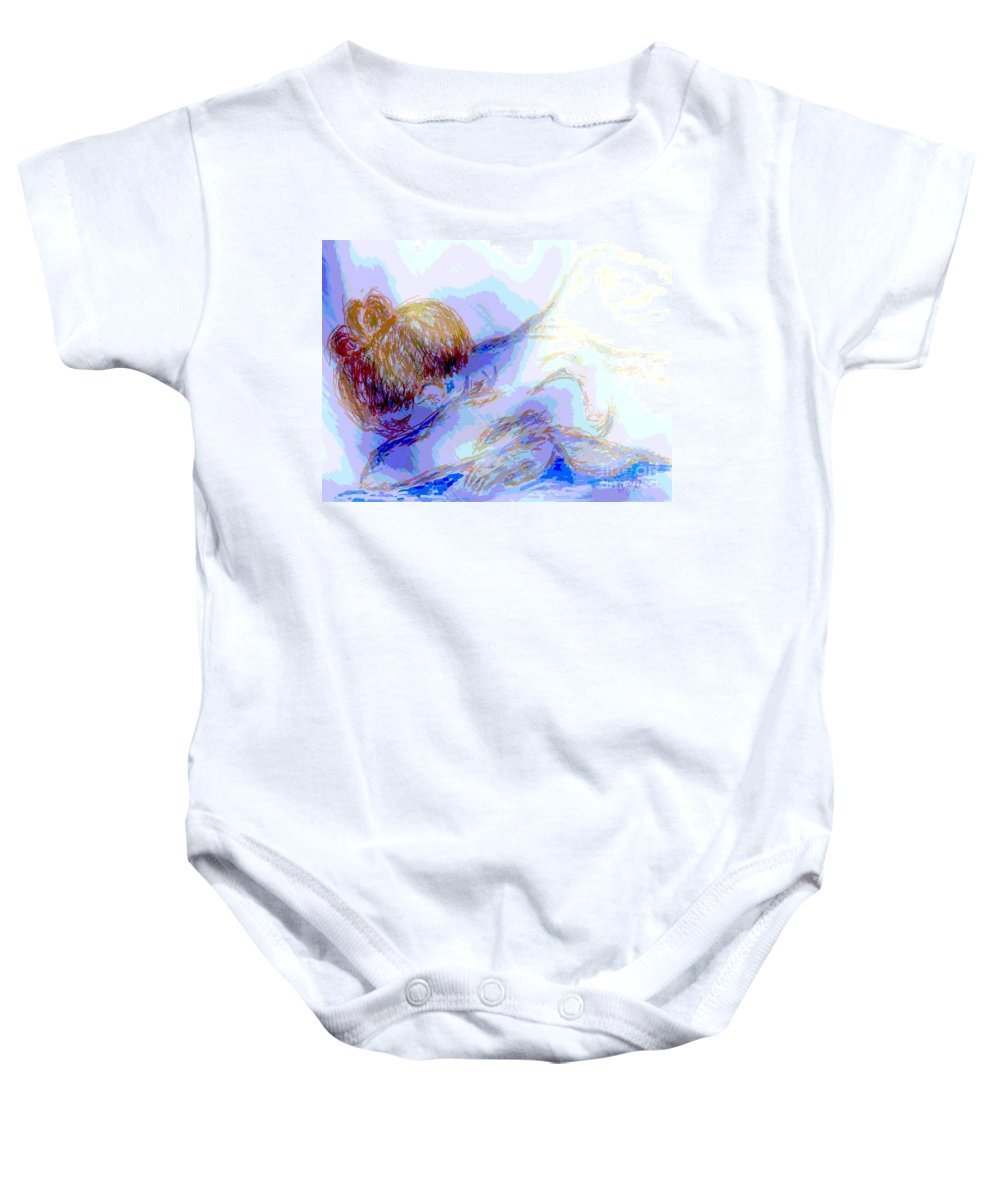 Lady Baby Onesie featuring the digital art Lady Crying by Shelley Jones