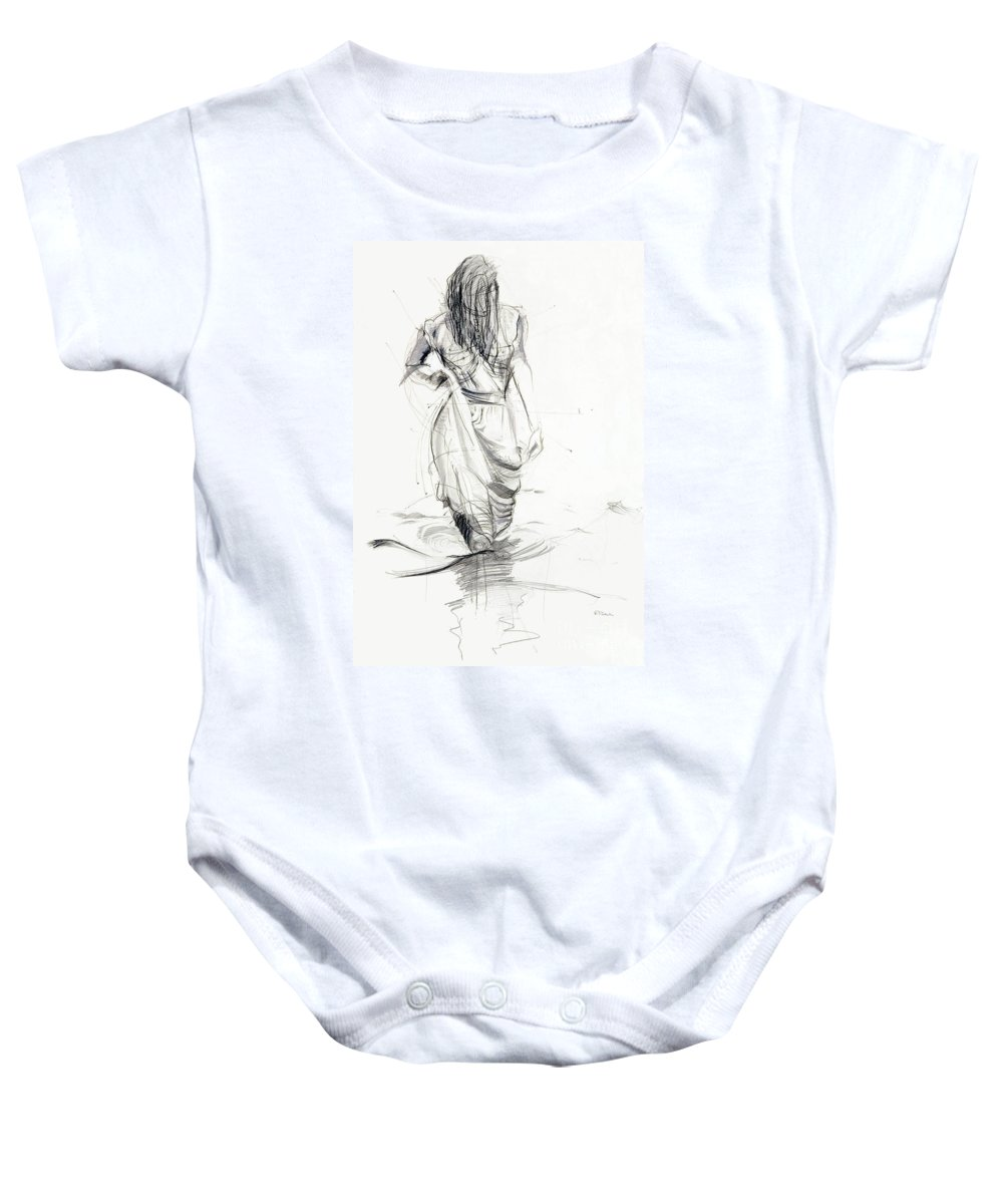 Woman Baby Onesie featuring the drawing Lady In The Waters by Kerryn Madsen-Pietsch