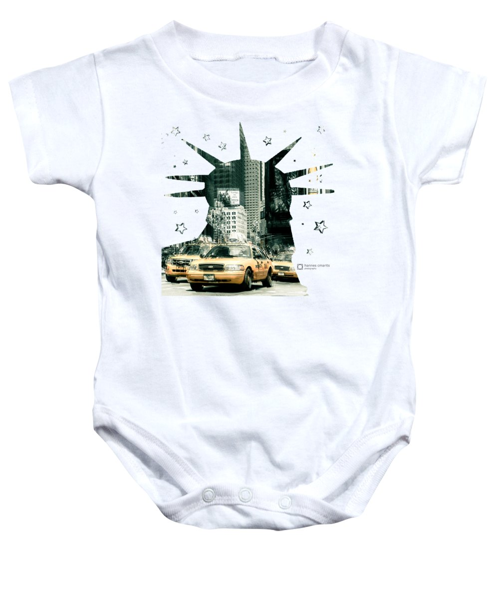 Graphical Baby Onesie featuring the photograph Lady Liberty And The Yellow Cabs by Hannes Cmarits