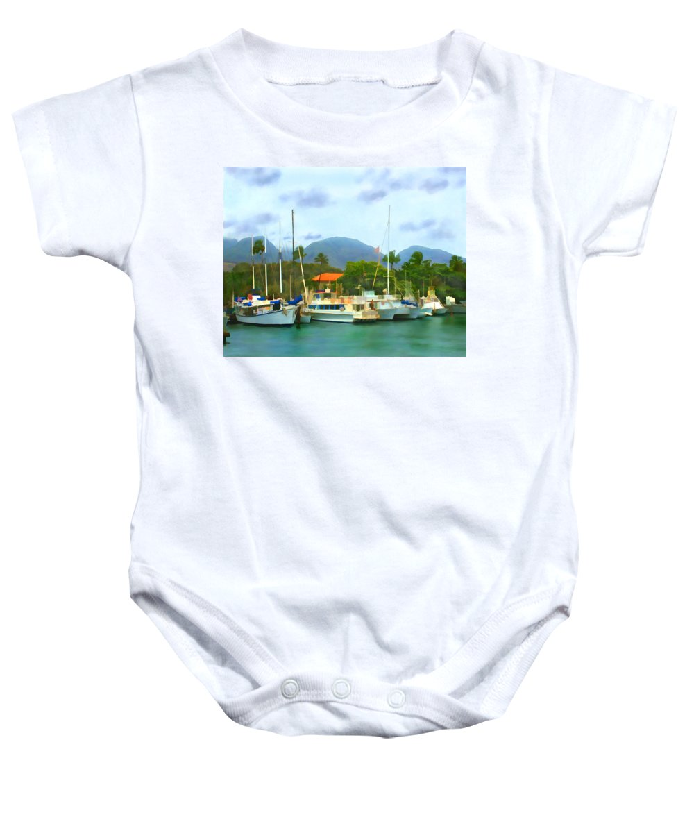 Lahina Baby Onesie featuring the photograph Lahina Harbor by Kurt Van Wagner