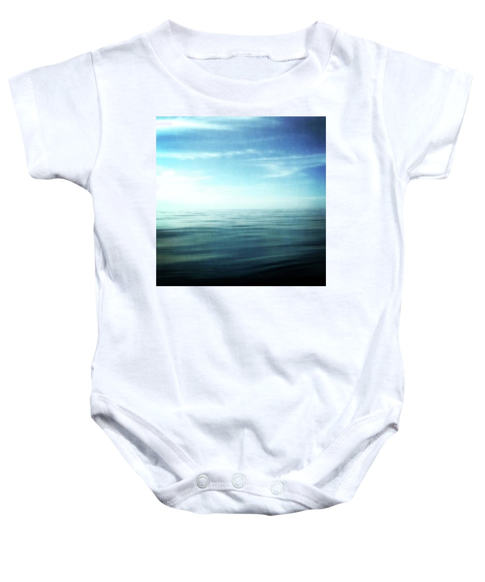 Blue Sky Baby Onesie featuring the photograph Lake And Sky by Michelle Calkins