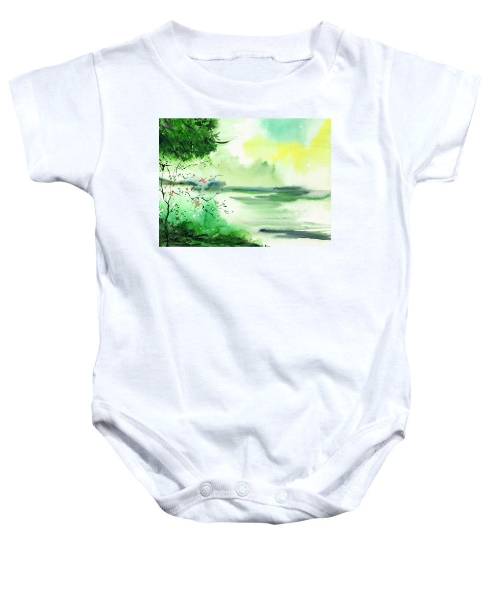 Water Baby Onesie featuring the painting Lake in clouds by Anil Nene