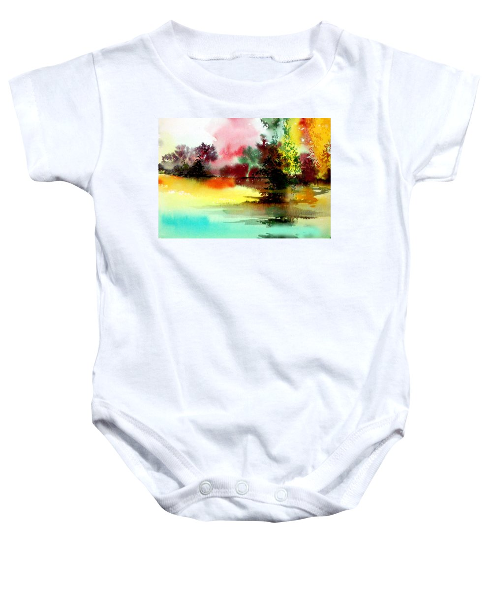 Nature Baby Onesie featuring the painting Lake In Colours by Anil Nene