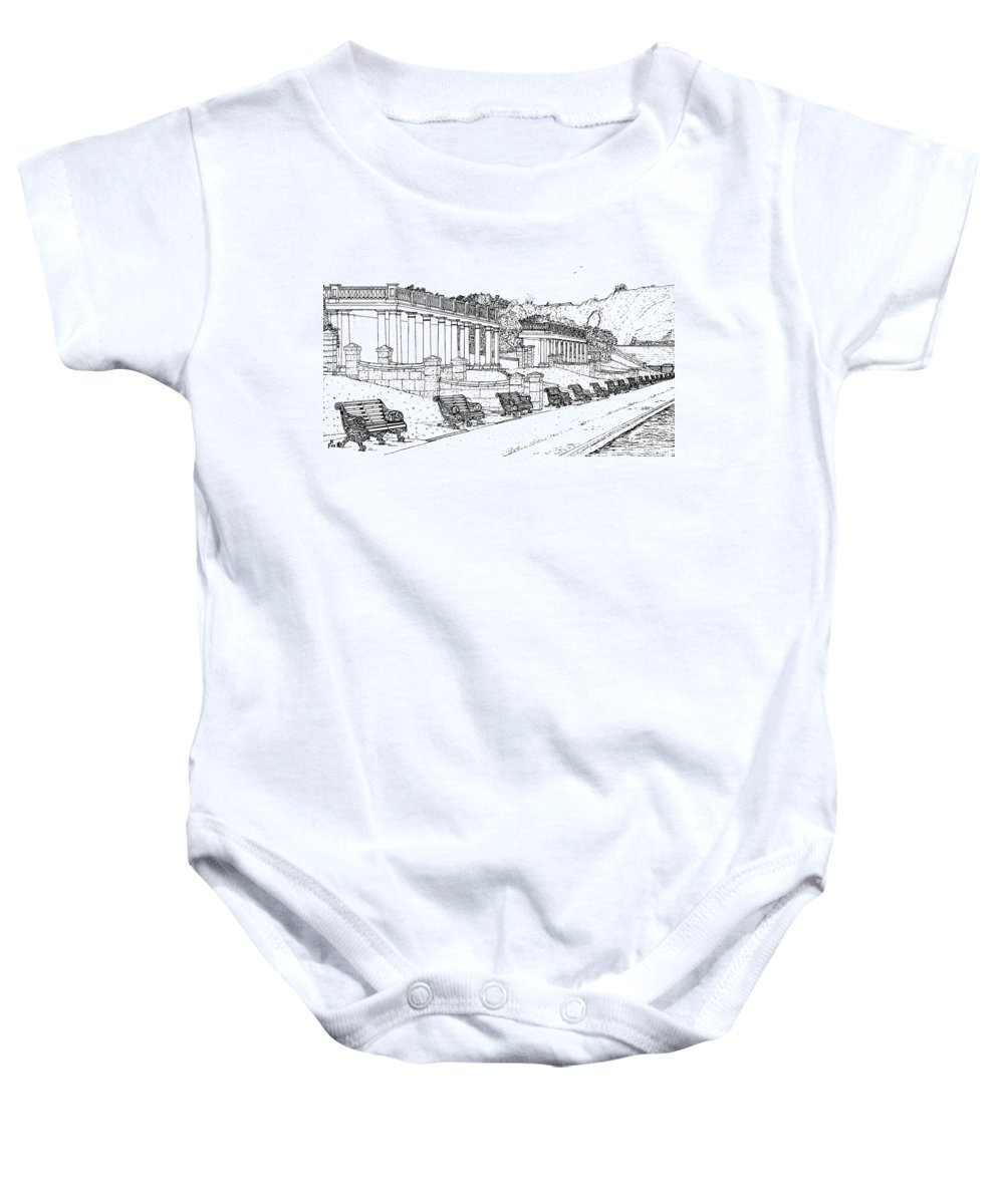 Scenic Drawing Baby Onesie featuring the drawing Lakeside. Barry by Frank Hamilton