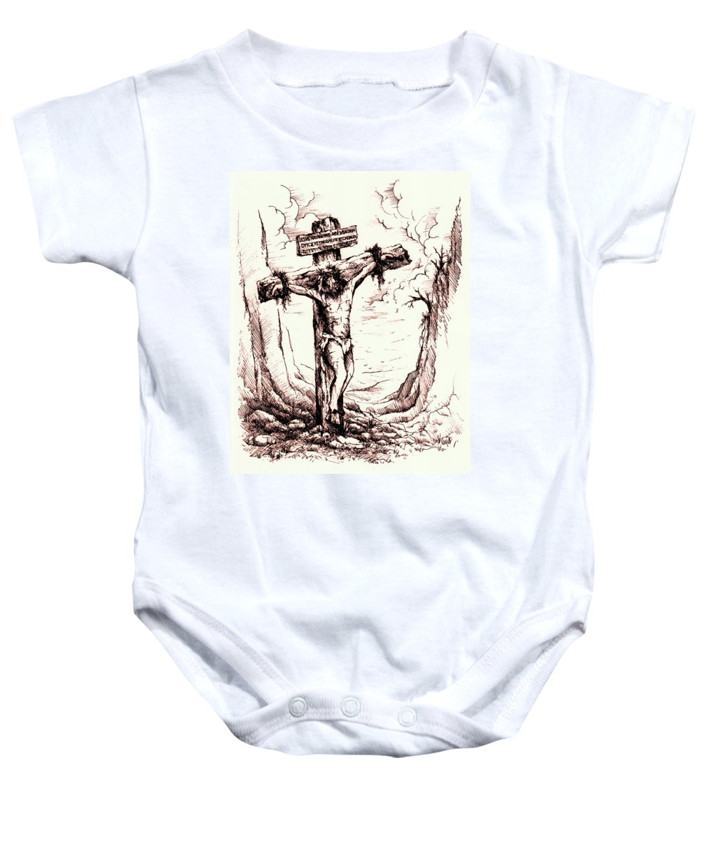 Christ Baby Onesie featuring the drawing Lamb Of God by Rachel Christine Nowicki