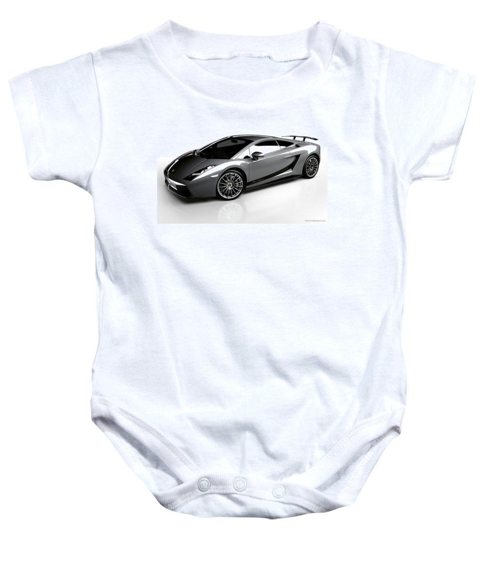 Baby Onesie featuring the digital art Lamborghini Galardo Superleggera by Alice Kent