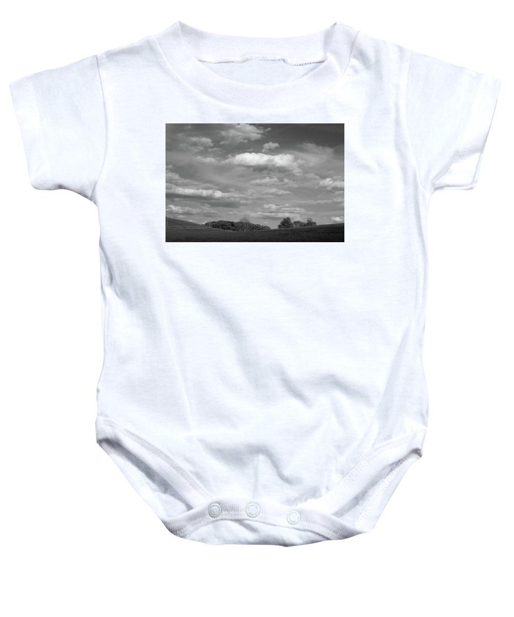 Black And White Baby Onesie featuring the photograph Landscape And Clouds by John Randolph
