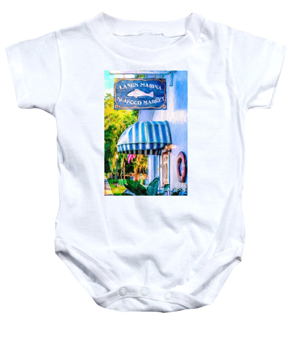 Lang's Marina Baby Onesie featuring the painting Lang's Marina Seafood Market by Tammy Lee Bradley