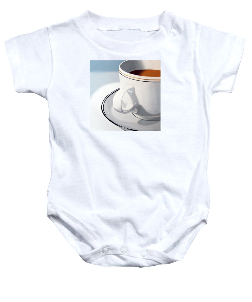 A Painting A Day Baby Onesie featuring the painting Large Coffee Cup by Mark Webster