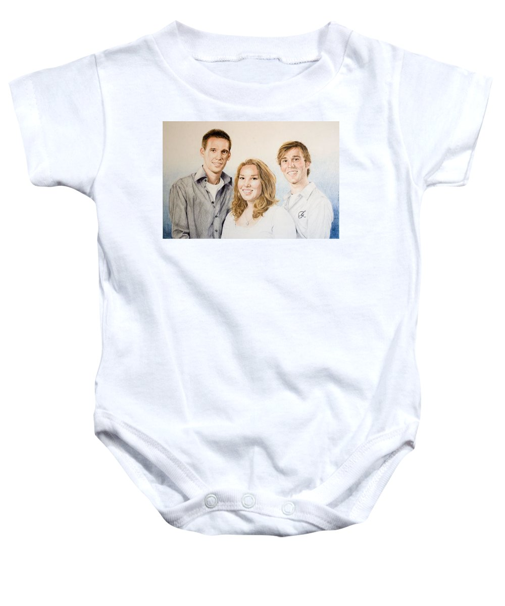 Portrait Baby Onesie featuring the drawing Lars Niels And Ilse by Rob De Vries