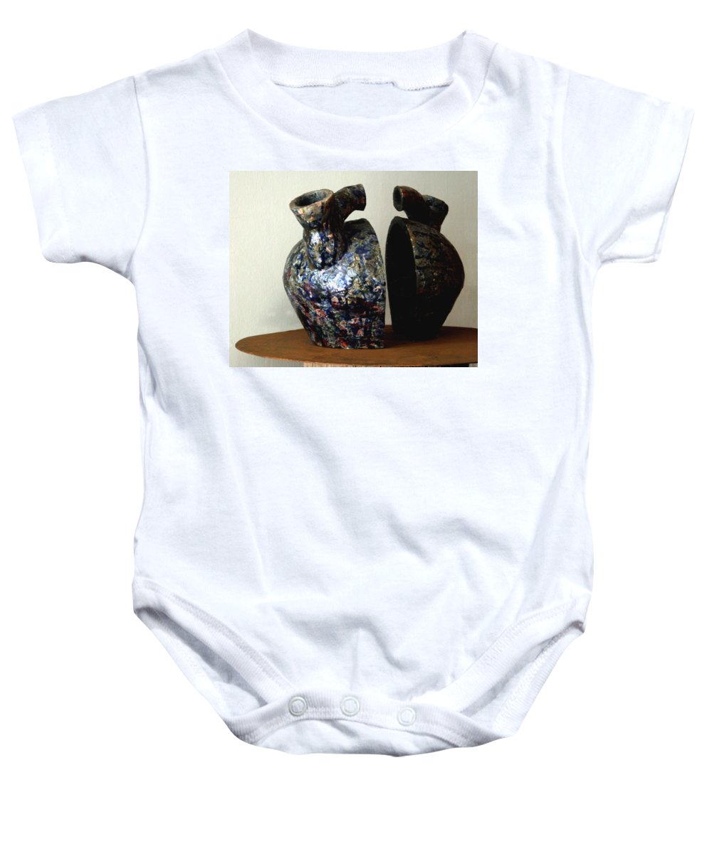 Ceramic Baby Onesie featuring the sculpture Las Venas Abiertas De America Latina by Madalena Lobao-Tello