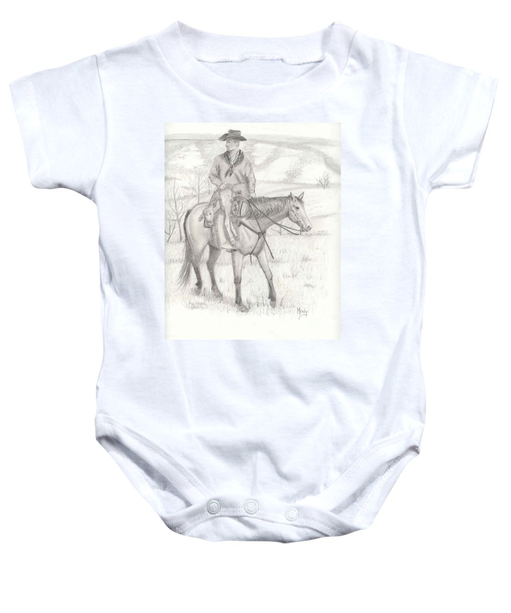Horse Baby Onesie featuring the drawing Last One In by Mendy Pedersen