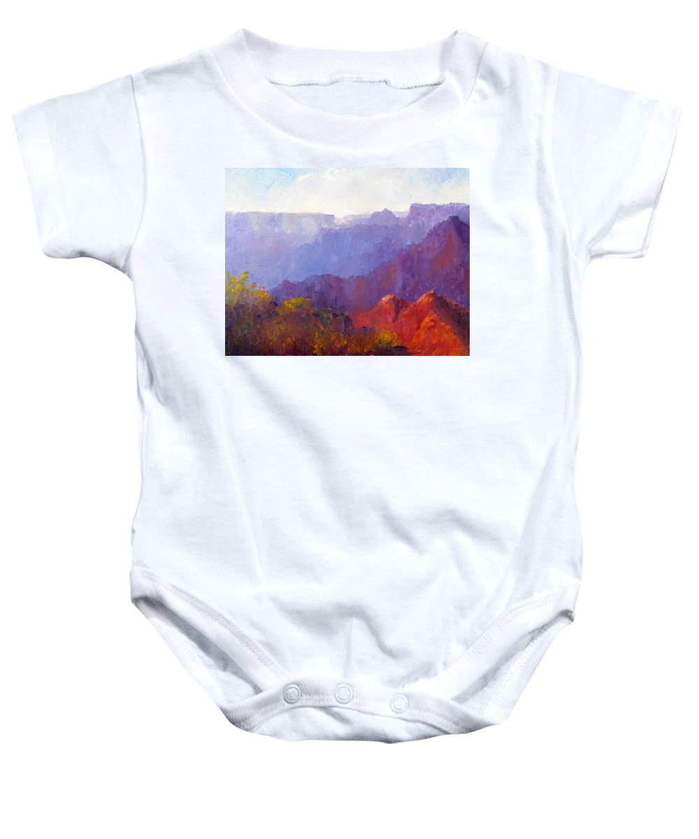 Grand Canyon Baby Onesie featuring the painting Late Afternoon Light by Terry Chacon